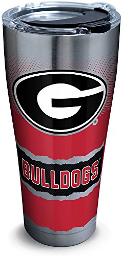 Tervis 1268403 Georgia Bulldogs Knockout Stainless Steel Tumbler with Clear and Black Hammer Lid 30oz, Silver ()