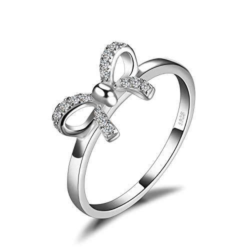 JewelryPalace Women's Cubic Zirconia Anniversary Wedding Ring 925 Sterling Silver Size 8 (Sterling Bow Ring)