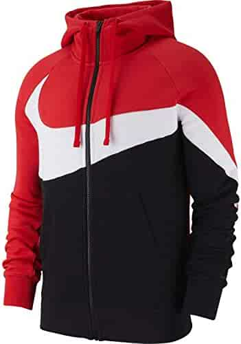 9f1d147cd26 Nike Mens HBR Large Swoosh Full Zip Hoodie Sweatshirt University Red/White/Black  BQ6458