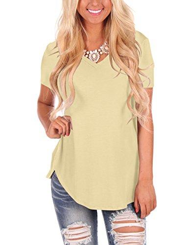 Stripe V-neck Tunic Top (MooliDa Women's V Neck Short Sleeve Tunic Top Shirt Plus Size (0-Apricot, X-Large))