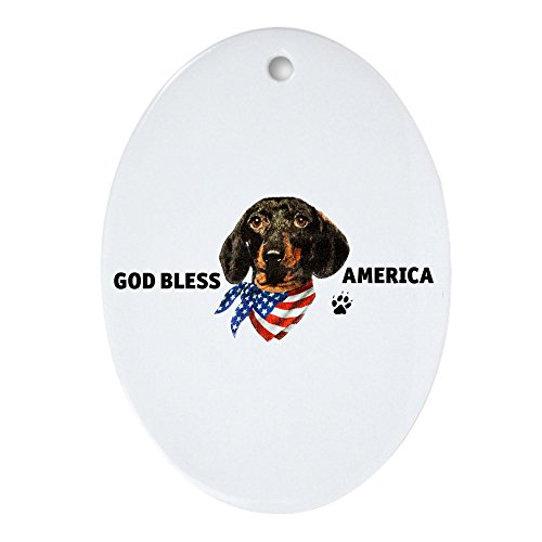Ornament (Oval) God Bless Wiener Dog Dachshund ()