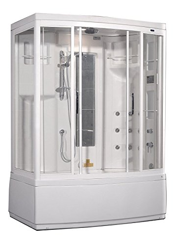 Aston ZAA208-L 9 Body Jets Steam Shower with Whirlpool Bath, Left Hand, 59-Inch x 37-Inch x 86-Inch, White by Aston