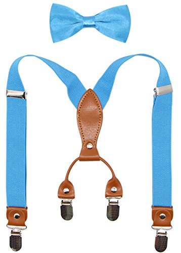 Suspenders & Bowtie Set for Kids and Baby - Adjustable Elastic X-Band Strong Clips Braces (Turquoise)