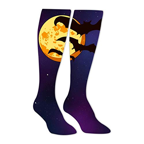 Knee High Stockings Borange Halloween Monn with Bats Long Socks Sports Athletic for Man and Women