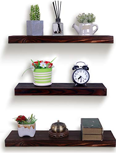 HXSWY Rustic Wood Floating Shelves Wall Mounted Farmhouse Wooden Wall Shelf for Bathroom Kitchen Bedroom Living Room Set of 3