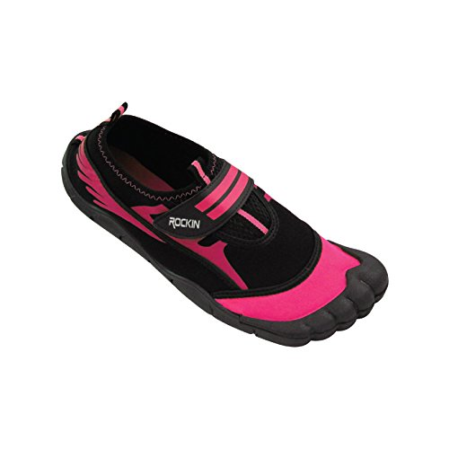 Rockin Footwear Kid's/Child Aqua Foot Water Shoes (1, Pink) (Kids Toe Shoes)