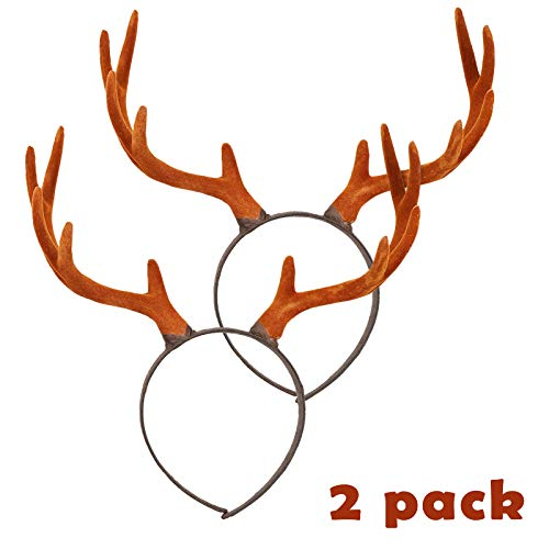 Pawliss 2 Pack Reindeer Antler Headband Cute Hair Accessory for Christmas Holiday Party Stereoscopic Design -