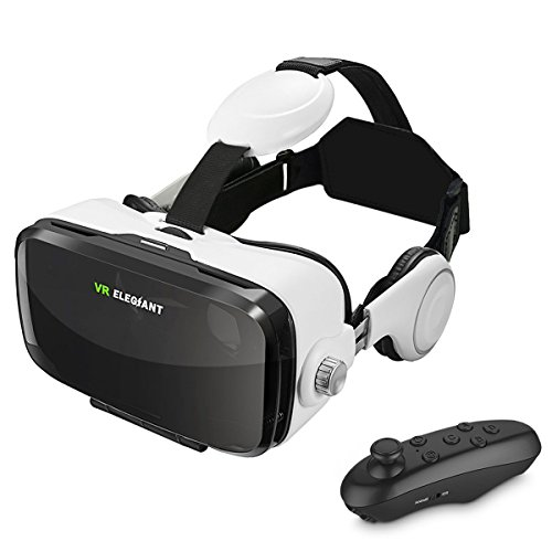 "VR Headset, ELEGIANT 3D VR Glasses, Virtual Reality Headset Built-in Headphone with Remote Control, Compatible with iPhone 6 / 6s /6 Plus/5s/5 Samsung S7/S6 and Other 4.0""-6.0"" Smartphones"