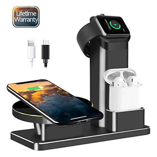 JingooBon 10W Fast Wireless Charger Stand for iPhone Xs Max/Xs/XR/X/8/8 Plus, 3 in 1 Charging Dock for iPhone, Apple Watch Series 3/2/1 & AirPods, Charge Station for iWatch & EarPods (Black)