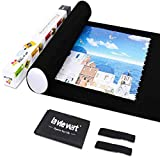 LAVIEVERT Jigsaw Puzzle Roll Mat Puzzle Storage Saver Black Felt Mat, Long Box Package, No Folded Creases, Jigroll Up to 1,500 Pieces - Comes with A Drawstring Opening Design Bag