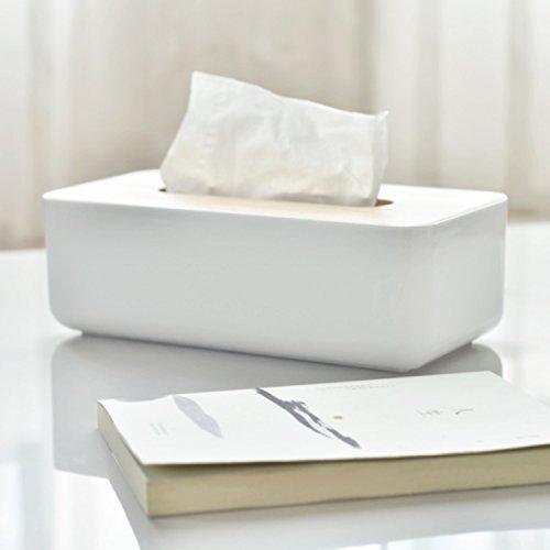Covet Haven Facial Tissue Box Cover Holder Rectangular For Bathroom Vanity Countertops White