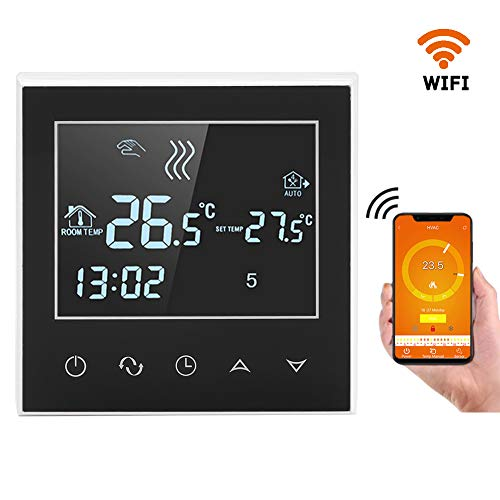 WiFi Wireless Thermostat, LCD Touch Screen App Control Programmable Thermostat for Smart Home Easy to Install