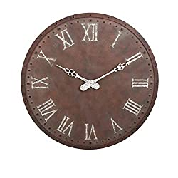 CC Home Furnishings 45 Weathered Brown and White Rustic Style Decorative Oversized Wall Clock