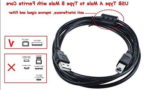 6ft USB 2.0 Data Sync Cable Cord For Yamaha MOX6 61-Key MOX8 88-Key Keyboar Music Synthesizer(with Ferrite Core)
