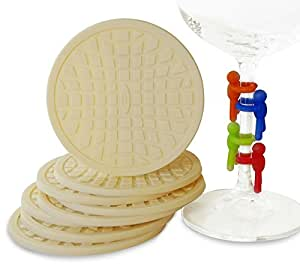 UberMatters 8-Piece Absorbent Silicone Coasters with Wine Glass Charms