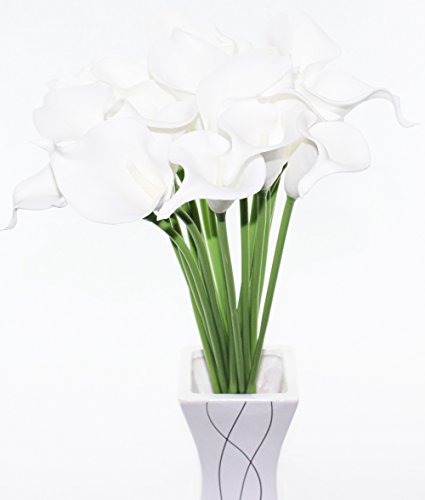 Simpleyourstyle Calla Lily Artificial Flower 10pcs No Vase Bridal Wedding Bouquet 10 Head Latex Real Touch Flower Bouquets (White Core White Flower)