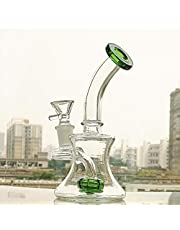 OUL Clear Glass Bottle 100ml Hand Blown Decorative Glass Vase Green Bottle Month