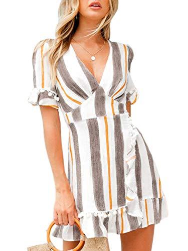 Cotton Fit and Flare Mini A Line Dress,Stripe Gray,4/6 ()