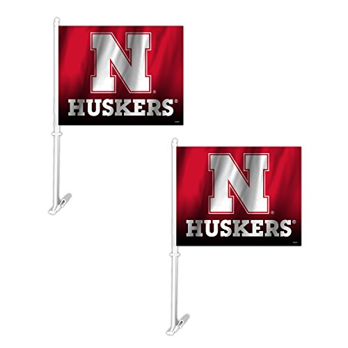 Football Car Flag - Fremont Die NCAA Nebraska Cornhuskers Ombre Car Flag (2 Pack), One Size, Red