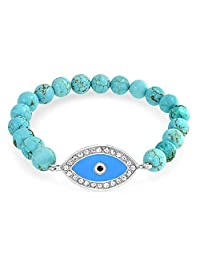 Bling Jewelry Gemstone Reconstituted Turquoise Blue Evil Eye Stretch Bracelet 8mm Silver Plated