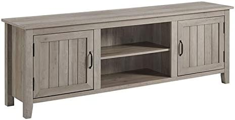 Pemberly Row Farmhouse Rustic Wood Barn Door 70 TV Stand Console with Storage in Rustic Gray Wash