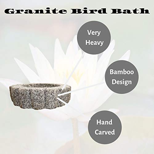 The Crabby Nook Granite Bird Bath Garden Outdoor Decor Hand Carved Stone Statuary Birdbath (White Gray) by The Crabby Nook (Image #2)