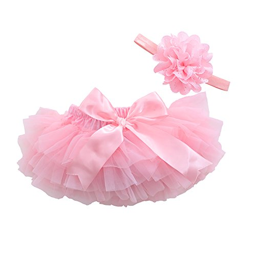 Ruffle Bloomers (muyan Infant and Toddlers Girls Cotton Tulle Ruffle With Bow Baby Bloomer Diaper Cover and Headband Set (Pink, Newborn-S(0-3Month)))