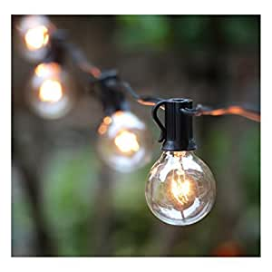 25FT G40 Globe String Light with 25 Clear Bulbs, Outdoor Market Lights for Outdoor and Indoor Decoration, Garden, Party, Wedding, Pergola, Backyard, Umbrella, Patio Outdoor Light String, Black