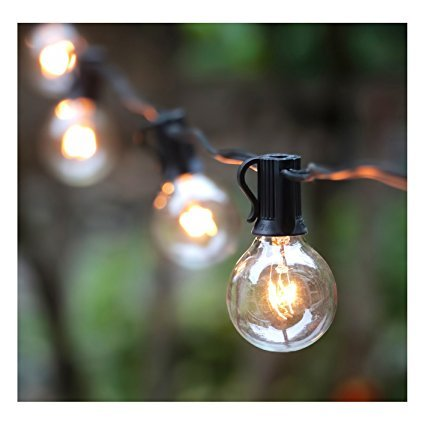 25FT G40 Globe String Light with 25 Clear Bulbs, Outdoor Market Lights for Outdoor and Indoor Decoration, Garden, Party, Wedding, Pergola, Backyard, Umbrella, Patio Outdoor Light String, Black Clear String Lights