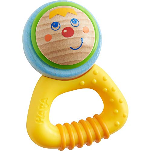 HABA Musical Character Pina - Rattle, Clutching Toy and Teether with Friendly Wooden Face and Plastic Teething Handle (Made in Germany)