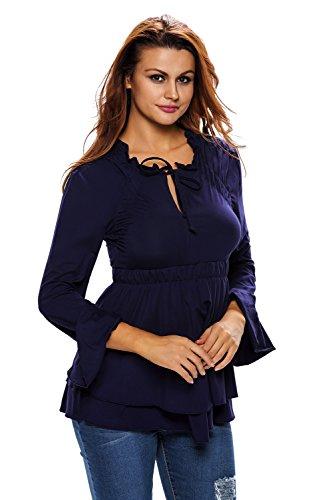 Neuf Bleu marine avec cordon élastique à col V à manches longues Blouse de soirée pour femme Tenue décontractée d'été Taille UK 8EU 36