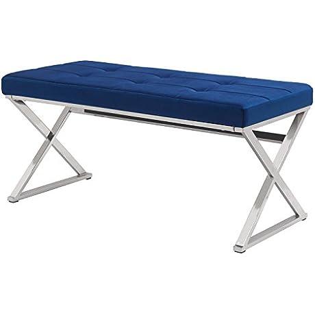 Joveco Textured Metal Leg Tufted Table Bench X Leg Royal Blue