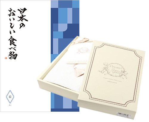 CONCENT 日本のおいしい食べ物 グルメカタログギフト 藍コース+Organic Luxe(オーガニックリュクス)オーガニックタオル B013SMK5Q0