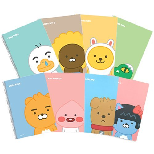 Notepad Sheet 24 (2018 New launched Kakao Little Friends Lined Spiral bound, Wire bound Notebooks Notebook Cute Spring Notepad 24 sheets - Little Kakao Friends 8 set)