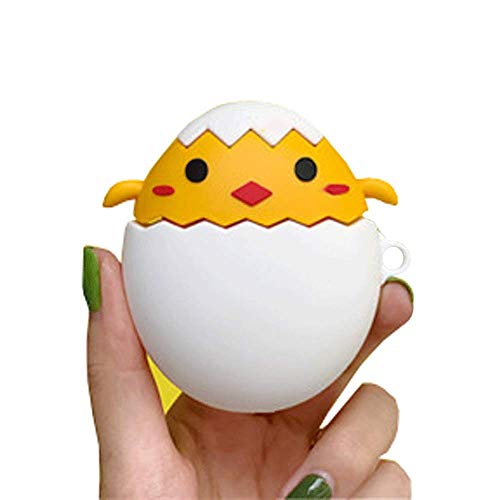 ICI-Rencontrer Super Cute 3D Oval Broken Egg Hatched Chicken Design Airpods Case Creative Yellow Baby Chick Egg shell AirPods Accessories Wireless Earphone Soft Silicone Anti-scratch Protector