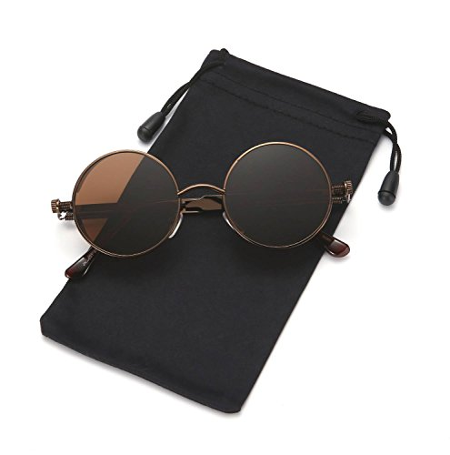 Steampunk Sunglasses Round Metal Gothic Hippie Shades for Men and Women LOOKEYE, Bronze and - Round Sunglasses Male Face