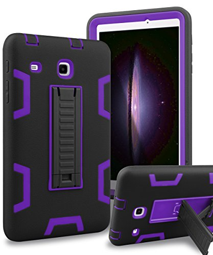 Samsung Galaxy Tab E 8.0 Case,XIQI Three Layer Hybrid Rugged Heavy Duty Shockproof Anti-Slip Case Full Body Protection Cover for Tab E 8.0 inch,Black Purple
