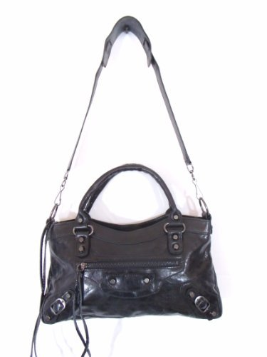 Bruno Black Leather Luxury Italian Motorcycle Handbag Tote Purse