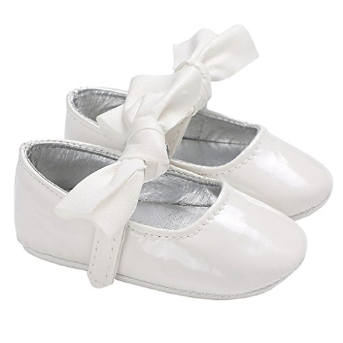 Baby Girls Sparkly Bowknot Mary Jane Soft Sole Princess Dress Shoes Crib Shoes White Size (Love White Soft Sole Shoes)