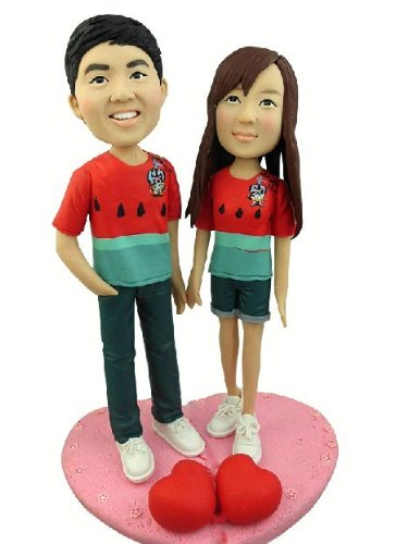 Model 37 Fully Customized Bobble-head Clay Figurines Based on Customers' Photos Using As Wedding Cake Topper, Gifts, Souvenirs, Decorations