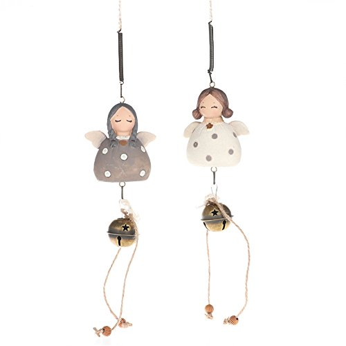2 PCS Cute Angel Wind Chime Aeolian Bells Doors Bells Handmade Car Ornaments Great Gift for Birthday, Christmas, New Year and Other Holidays. (Angel Doorbell)