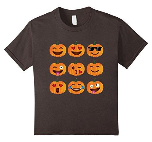 Kids Pumpkin Emoji T-Shirt, Pumpkin Shirt Emoji Halloween Costume 4 Asphalt
