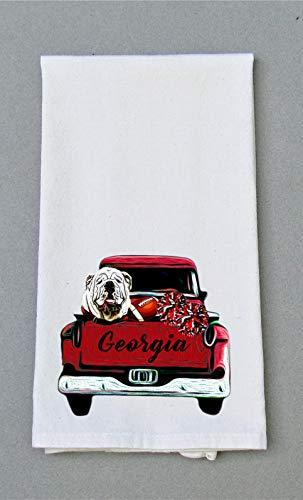 Georgia Football Print Kitchen/Bath Hand Towel - Kitchen Dish Towel - Tea Towel ()