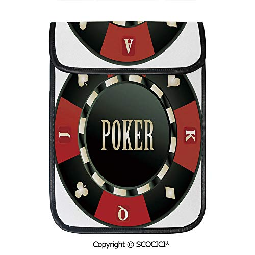 SCOCICI iPad Pro 12.9 Inch Sleeve Tablet Protective Bag Casino Chip with Poker Word in Center Rich Icon Card Suits Decorative Custom Tablet Sleeve Bag Case