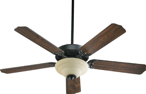 Quorum International 77525-9495 Capri III 52-Inch 2 Light  Ceiling Fan, Old World Finish with Amber Scavo Glass  Light  Kit and Reversible Blades