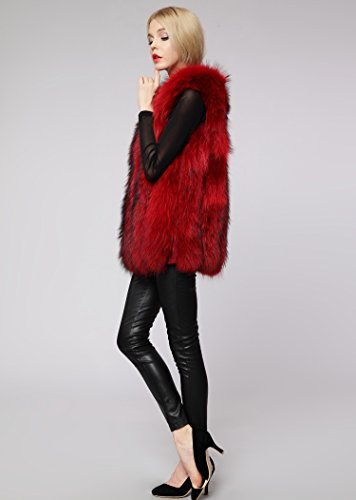 cappotto faux donne di rouge inverno Womens della di del del pelliccia FOLOBE Vin Rivestimento delle ZtRPx0cw