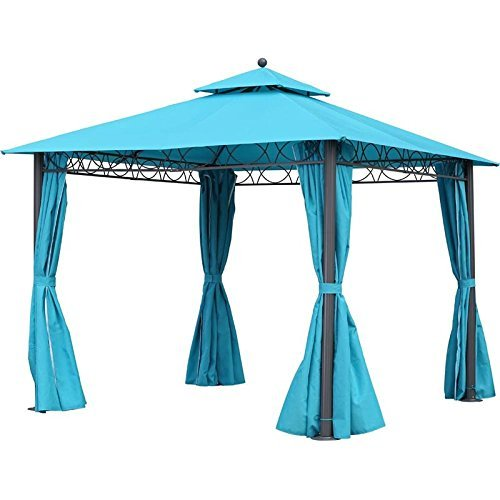 - International Caravan YF-3290-AB-IC Furniture Piece Square 10 Foot Double Vented Gazebo with Drapes