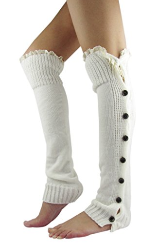 Acrylic Warmers Leg (NOVAWO Women's Christmas High Knit Crochet Lace Leg Warmers (White))