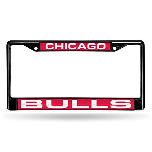 Chicago Bulls Laser Black License Plate (Bulls License Plate Frame)