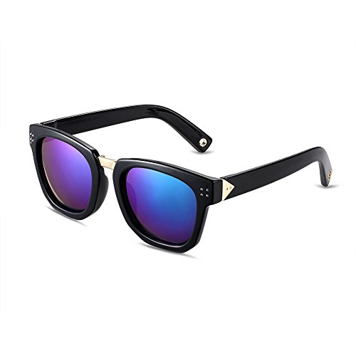 Naivo Women's YJMH017-2 Polarized Rectangular Viviana Charcoal Aqua Gradient - Sunglases.com